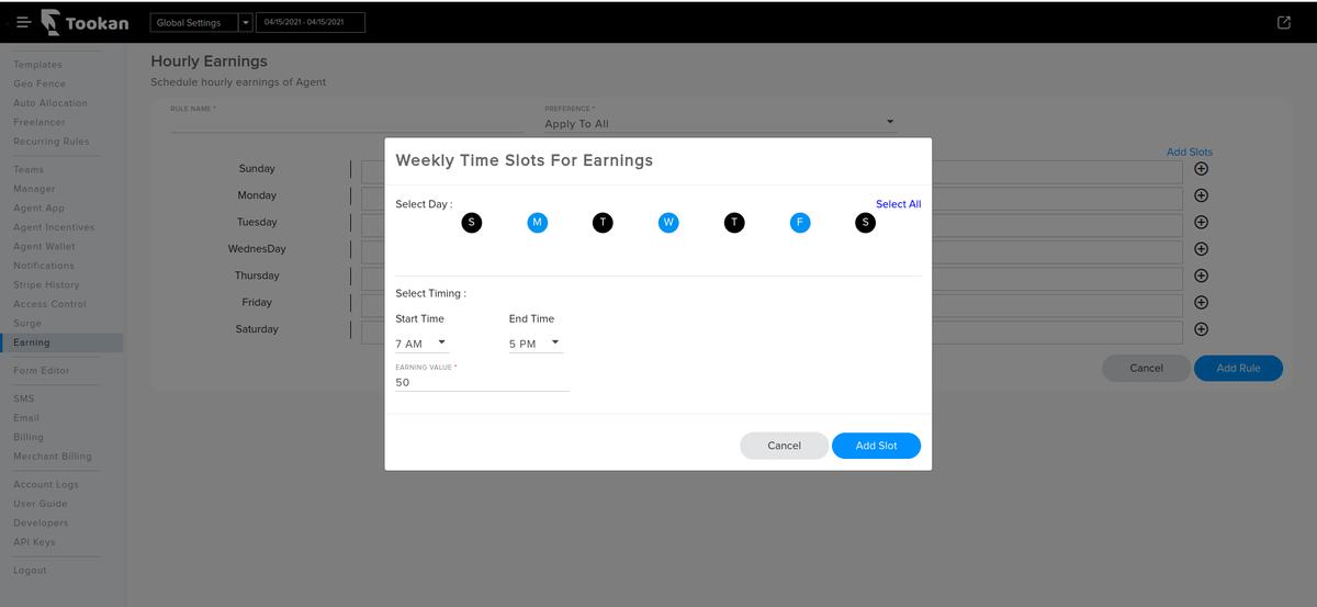 hourly earning in tookan